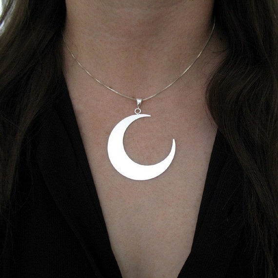 Moon Statement Jewelry, Crescent Moon Necklace, 1 & 3/4 Inch Large Moon Crescent Pendant Necklace, 18 Inch Box Chain .925 1.2mm thickness