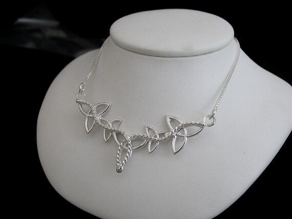 Sterling Silver Celtic Trinity Knot Necklace with a 16 Inch sterling Box Chain