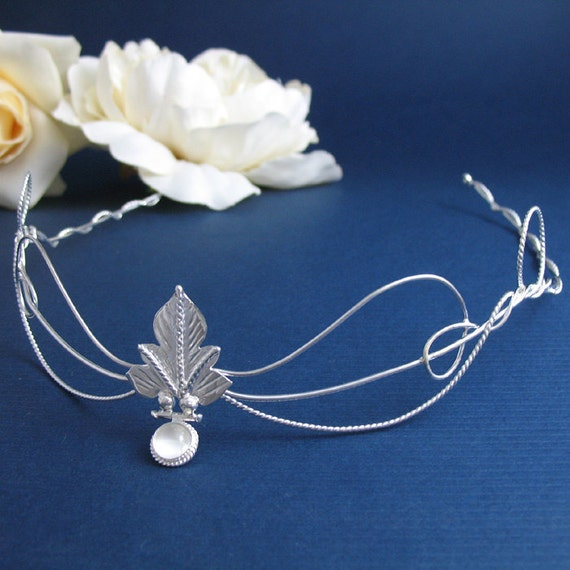 OOAK handmade Woodland Leaf Wedding Bridal Circlet, Middle Earth Headpiece,  Leaf Moonstone Circlet, Sterling Silver Handmade