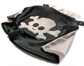 Pirate Cape for Child by Little Hero Capes - Black and Silver - Superhero Skull, Bolt or Star Design