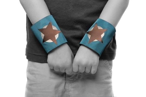Little Hero Power Cuffs - Dark Teal and Brown - Star Design