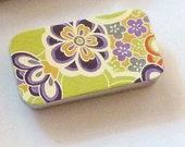 Mini Chiyogami DecoratedTin Green/Flowers