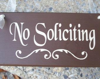 No Soliciting Wood Vinyl Sign Home Decor Brown Door Hanger Outdoor Wreath Sign Privacy Door Sign Outdoor Sign Wall Sign Brown Home Office