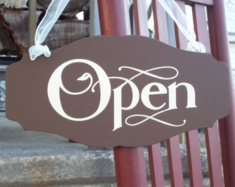 Open Closed Two Sided Wood Vinyl Sign Country Brown Chic Style Shop Store Scalloped Design Large Plaque Office Business Retail Spa Supply