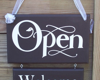 Open Welcome Closed Please Come Again Wood Sign Vinyl Home Business Office Supplies Door Hanger Personalize Hair Salon Signs Beauty Shop