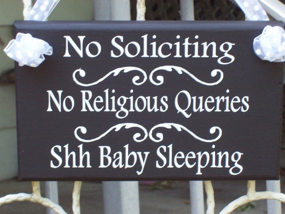 No Soliciting No Religious Queries Shh Baby Sleeping Whimsy Cottage Design Home Trend Porch Entry Door Hanger Babies Infant New Mom Parent