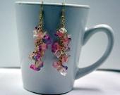 Birds of Paradise - citrine, romantic sunset glass, cherry quartz gemstone cluster danging earrings