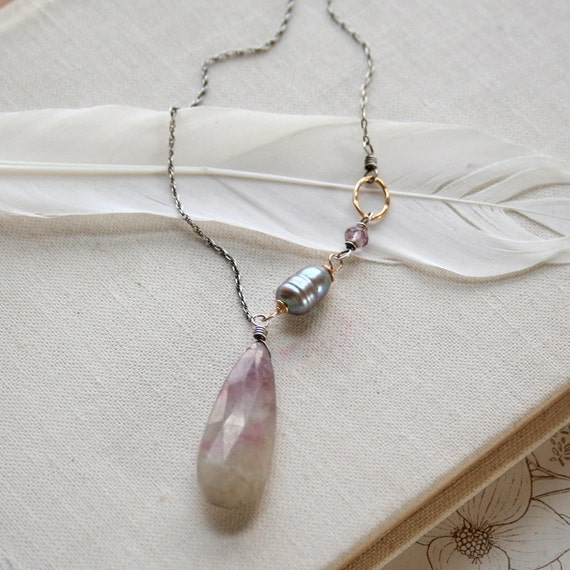 SALE- Heliotrope Necklace- ruby zoisite, peacock pearl, pink amethyst, sterling silver, goldfill.