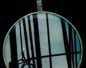 Wires- Glass Vintage Optician Lens Pendant