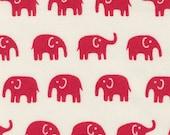 Japanese Fabric: Red Elephants on White  - Kawaii  Half Yard