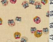 Japanese Cotton Fabric - Original Owl on Brown, Half Yard