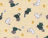 Tissu japonais: Jolis chats bleus sur la crème, la moitié cour