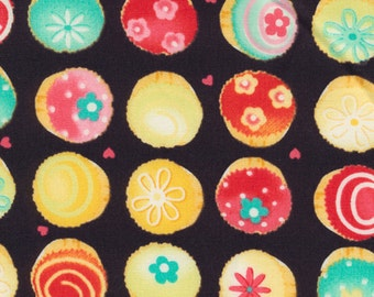 Japanese Fabric: Cupcakes (Black), Half Yard