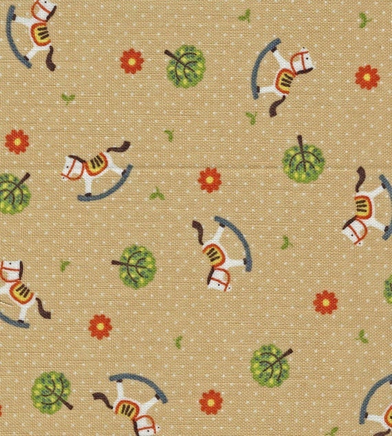 Destash sale, 50% off eveything. Use Code: DESTASH50, White Rocking Horses with Trees on Tan - Japanese Fabric Fat Quarter