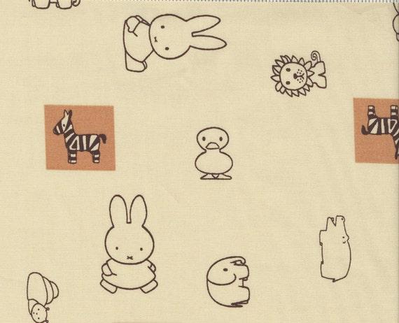Destash sale, 50% off eveything. Use Code: DESTASH50, Japanese Fabric, Miffy and Friends on Tan  - Kawaii  Half Yard