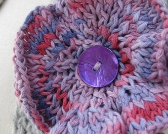 Lilac Purple Knitted Flower Corsage