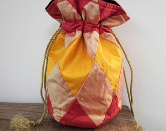 Red Peach Gold Silk Patchwork Drawstring Bag