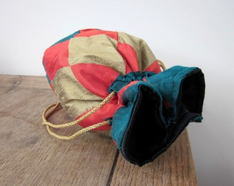 Green, Red, Bronze Patchwork Silk Drawstring Bag