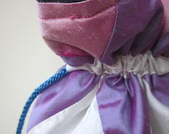 Pink, Purple, White Patchwork Silk Drawstring Bag