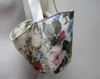 Blue Rose Chintz Flower Market Bag
