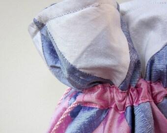White, Lilac, Pink Patchwork Silk Drawstring Bag