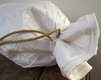 Ivory, White and Brocade Silk Patchwork Silk Drawstring Wedding Bridal Bag