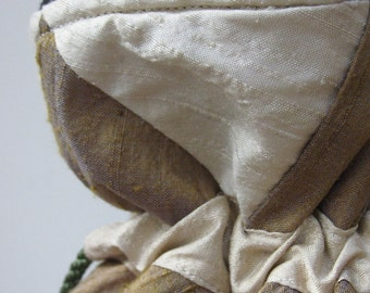 Ivory, Plum and Bronze Patchwork Silk Drawstring Bag