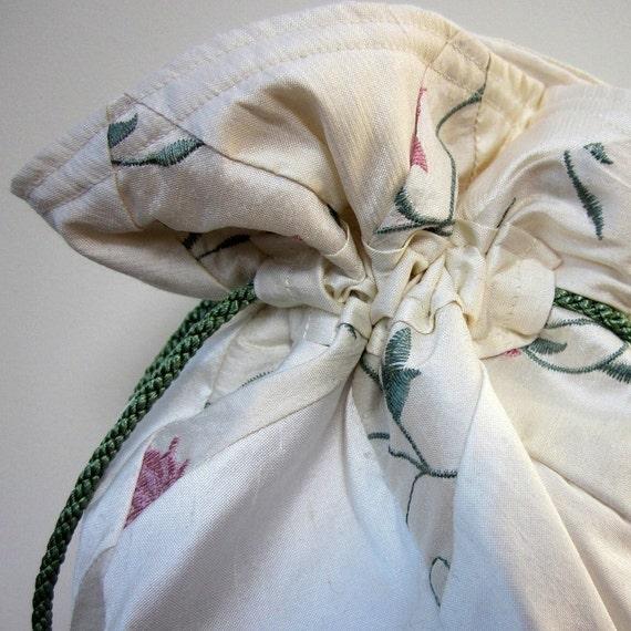 Ivory Silk Embroidered Brocade Patchwork Silk Drawstring Wedding Bridal Bag