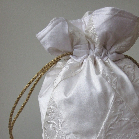 RESERVED White, Brocade and Ivory Patchwork Silk Drawstring Wedding Bridal Bag