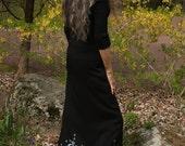 Goddess skirt pentagrams moons stars long black rayon  OOAK