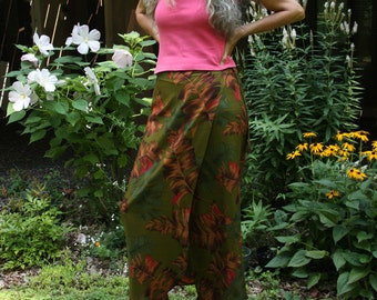 mamothreads tropical palms rayon wrap skirt - large