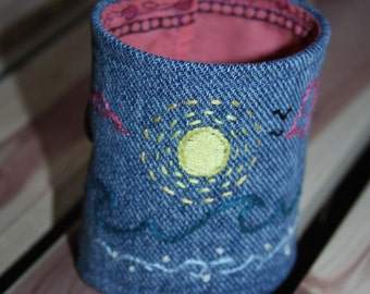 mamothreads environments embroidered denim cuff - by the sea