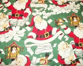 Vintage style Santa Claus and Christmas letters with sparrows cotton fabric remnant in red and green