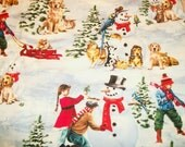 Winder wonderland scene with cats, dogs, birds, kids sledding, making snowman on blue snowy background. Cotton fabric