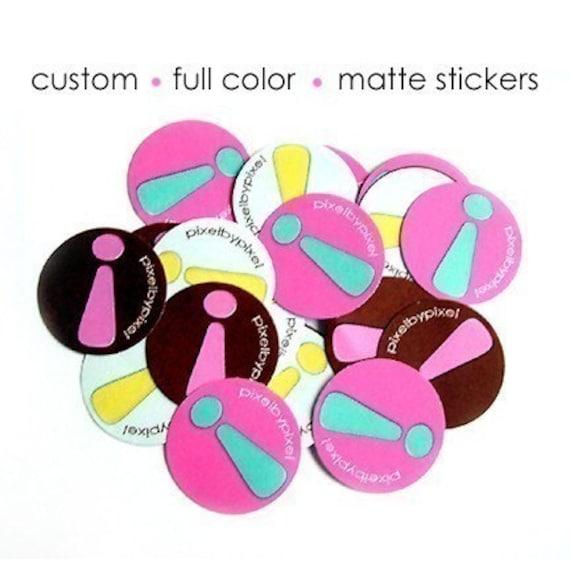 100 Custom Logo Stickers - Round 1.25 inches - Matte