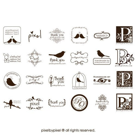 Premade Rubber Stamp - Your name or website - ORIGINAL DESIGNS BY PIXELBYPIXEL