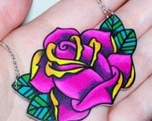 hot pink rose with yellow accents necklace