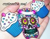 cupcake and sugar skull customize necklace