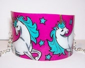 whimsicle white and teal unicorn cuff bracelet