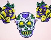yellow purple green mardi gras sugar skull rose necklace