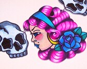 hot pink haired pin up and skull necklace