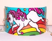 magical teal and hot pink unicorn rainbow cuff bracelet