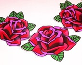 lovely triple red rose necklace
