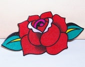 single red rose tattoo hair clip