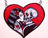 true love never dies heart skull necklace