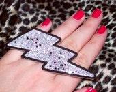 gaga for glam jerseylicious silver glitter 3 tier lightning bolt ring