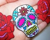 floral sugar skull and roses necklace