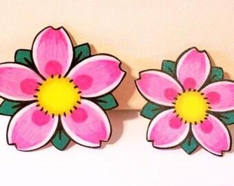 cherry blossom pin back pin set