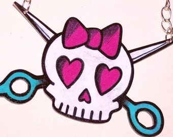skull scissors DIY crafter necklace teal hot pink
