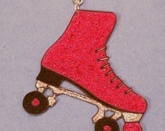 pink glitter roller skate roller derby necklace
